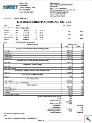 Документ «Disbursement Account»